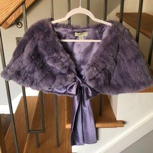 Lord & Taylor Purple 100% Rabbit Fur Wrap/Shawl